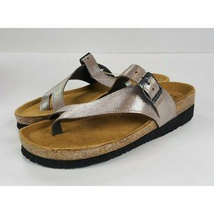 Naot Silver Tahoe Leather Toe Loop Slide Sandals